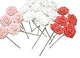 バラ 造花 50個 茎付き 8cm セット 手作り アレンジメント 結婚式 パーティー お祝い に (白×赤×ピンク)