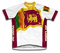 Sri Lanka Flag Short Sleeve Cycling Jersey for Men - Size M