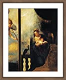 WallsnArt, Figurative Modern Framed Art Work Painting With Glass,Virgin Of Annunciation, Detail From Annunciation, By Andrea Schiavone (Ca 1500-1563), Church Of San Pietro, Belluno, Veneto, Italy, 16th Century