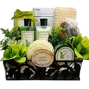 Spa Day Get Away Green Tea Bath and Body Gift Basket Set