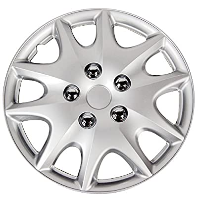 "Silver 15"" Hub Caps Full Wheel Rim Covers w/Steel Clips (Set of 4) - KT-1009S-15"