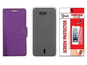Colorcase Flip Cover Case for Infocus Bingo 21 M430 with Back Cover & Tempered Glass - Purple (Combo Set)