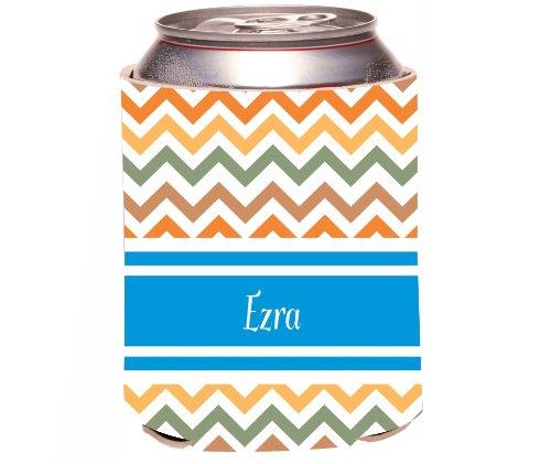 "Rikki Knighttm ""Ezra"" Blue Chevron Name Design Drinks Cooler Neoprene Koozie front-600441"
