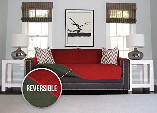 The Original SOFA SHIELD Reversible Furniture Protector, Features Elastic Strap (Sofa: Evergreen/Red) (Cheap Couch Covers compare prices)