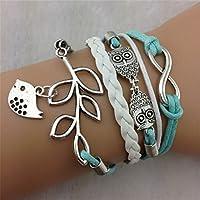Ukamshop(TM)Vintage Handmade Infinity Silver 8 Owl Leaf Bird Leather Bracelet Wristband by Ukamshop