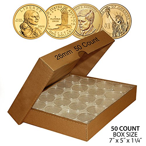 50-SUSAN-B-ANTHONY-Direct-Fit-Airtight-26mm-Coin-Capsule-Holder-QTY-50-w-BOX