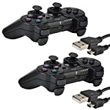 2 Pack Bluetooth Wireless Controller for PS3 Controller Double Shock Gamepad 6-Axis Game Controller for Playstation 3 Bonus 2 Charging Cable by Kabi Black+Black (Color: Black+Black)