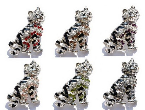 cat brooch pin W 30x35mm white gold plated enamel 6-COLORS