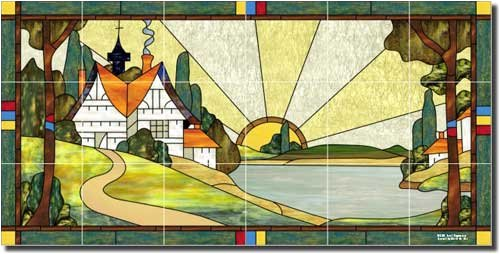 Arts and crafts tile murals for Arts and crafts mural