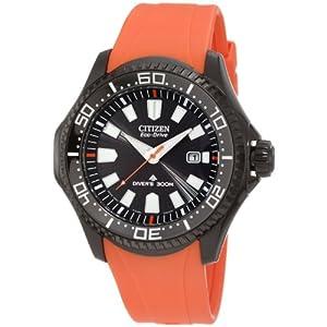 Citizen BN0088-03E - Reloj analógico de cuarzo para hombre, correa de poliuretano color naranja