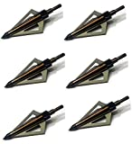 125 Grain Fixed Three Blade Broadheads, (6 Per Pack), Compatible with Crossbow and Compound Bow - Gold Color