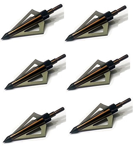 125 Grain Fixed Three Blade Broadheads, (6 Per