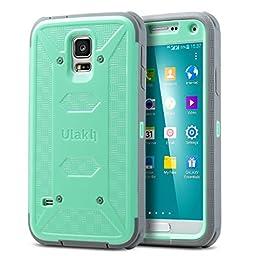 ULAK Galaxy S5 Case [KNOX Armor] Heavy Duty Four Corners Protection Cover Heavy Duty Case for Samsung Galaxy S5 (2014) -Mint/Gray