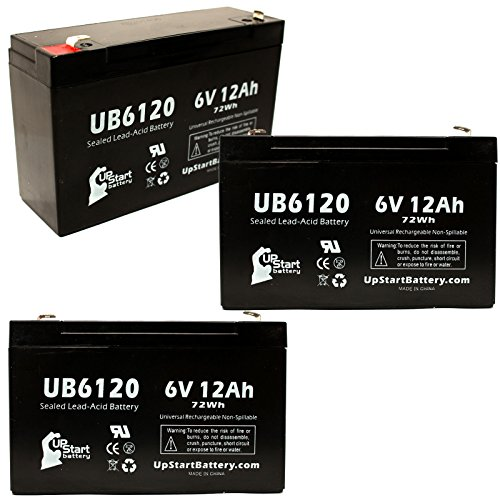 3X Pack - Imed Mini Battery - Replacement Ub6120 Universal Sealed Lead Acid Battery (6V, 12Ah, 12000Mah, F1 Terminal, Agm, Sla) - Includes 6 F1 To F2 Terminal Adapters