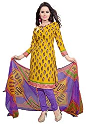 Jinal Fashion women's crepe dress material (Yellow_color)