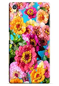 Omnam Pink Flower Pattern Puzzle Effect Printed Designer Back Cover Case For Sony Xperia Z5 Premium