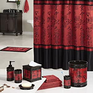 Red black asian designed bathroom polyester shower curtain home kitchen - Oriental bathroom decor ...