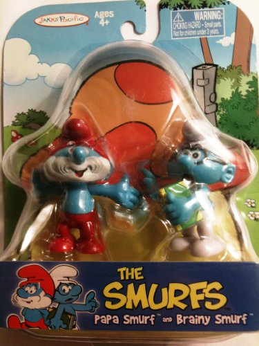 The Smurfs - Papa Smurf and Brainy Smurf by Jakks Pacific - 1