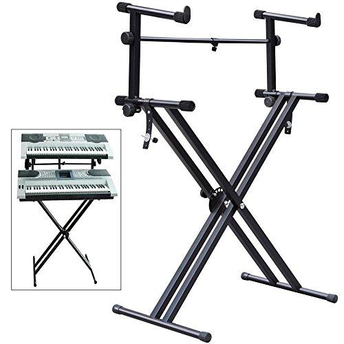 tinkertonk 2-tier Adjustable Keyboard Stand, Heavy-Duty Dual X Frame