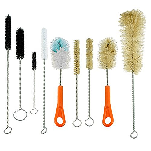 Houseables Bottle Brush & Tube Brush Cleaning Set, 9 Pieces Sizes & Shapes, Natural & Synthetic Cleaner Bristles, Large, Small, Soft, Stiff (Tattoo Cleaning Brushes compare prices)
