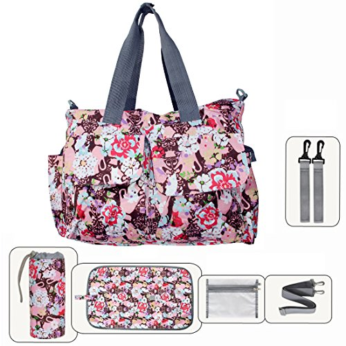Damai Floral Designer Diaper Tote Bags (Red Emotion)