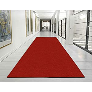 ottohome collection red carpet aisle runner solid color hallway runner rug 22 inch. Black Bedroom Furniture Sets. Home Design Ideas