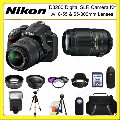 Nikon D3200 Digital SLR Camera Kit with 18-55 & 55-300mm Lenses. Also Includes: 0.45X Wide Angle Lens, 2X Telephoto Lens, 3 Piece Filter Kit(UV-CPL-FLD), 32GB Memory Card, 72
