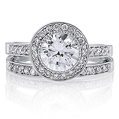 BERRICLE 925 Sterling Silver Round Cubic Zirconia CZ Halo Women Engagement Wedding Bridal Ring Set