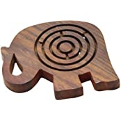 Wooden Labyrinth Maze In Elephant Shape Ball In Maze Brain Teaser Puzzle Game, Set Of 4