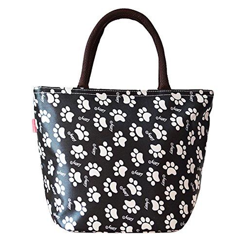 Sealike Waterproof Cute Dog Footprints Design Picnic Lunch Bag Tote Bag Handbag for Women Girls with Stylus Black - 1