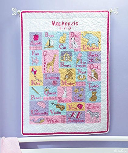 Personalized Alphabet Baby Quilt, Baby Name And Date Of Birth, Boy Or Girl (Girl) front-726929