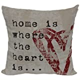 Brentwood 8022 Wordsmith Pillow Home Is Where The Heart Is 18-Inch