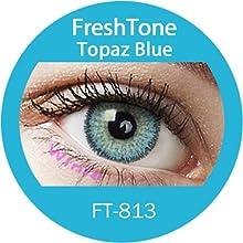 Lente de contacto de color Topaz azul 3tons 12meses sin Correction