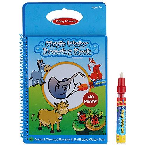 GoolRC Nicht-toxische magische Wasser-Zeichnungs-Malbuch Doodle mit Magic Pen Tiere Malerei keine Tinte pädagogisches Spielzeug