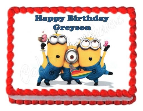 DESPICABLE ME MINIONS party edible cake image cake topper frosting sheet (Minions Party Ideas)