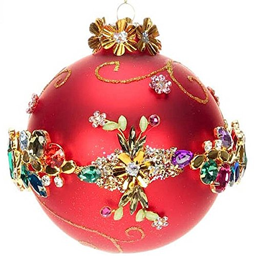 Jeweled Banded Glass Ornament 5 inch 36-43972 Kings Jewels Collection