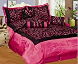 NEW 7PC FAUX SILK FLOCKING PINK BLACK ZEBRA PRINT QUEEN SIZE COMFORTER SET