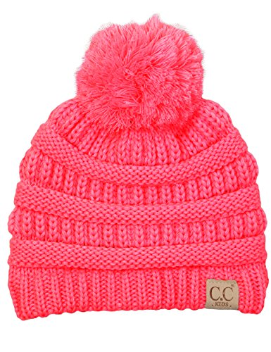 H-6847-37 Children's Pom Beanie - Candy Pink