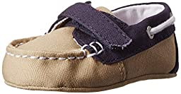 Ralph Lauren Layette Sandal (Infant/Toddler),Khaki/Navy Color Block,2 M US Infant