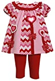 Baby Girls Infant 12M-24M Pink Chevron Colorblock Hearts Bows Dress/Legging Set