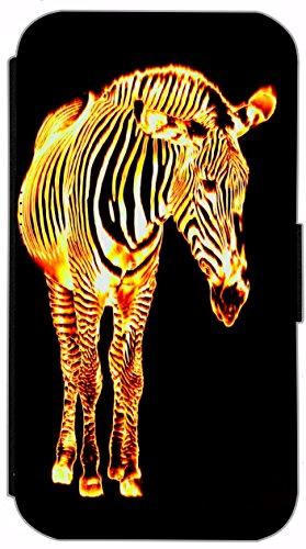 Flip Cover für Samsung Galaxy S2 i9100 Design 544 Pferd Schwarz Gelb Hülle aus Kunst-Leder Handytasche Etui Schutzhülle Case Wallet Buchflip Vorderseite Bedruckt mit Bild Rückseite Schwarz (544)
