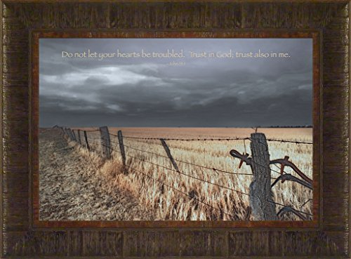 Do Not Let Your Hearts Be Troubled By Todd Thunstedt 17.5X23.5 Farm All Farming John Deere Ih Farmall Allis Ford Combine Pig Sheep Lamb Holstein Dairy Hereford Beef Angus New Bible Verse Framed Art Print Wall Décor Picture