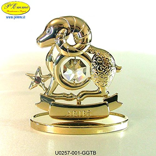 SEGNO ZODIACALE ARIETE GOLD CRYSTOCRAFT SWAROVSKI ELEMENTS - 24K GOLD PLATED