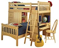 Big Sale Bolton Furniture 9926200 Mission Loft Bed with Desk, Chest of Drawers and Bookcase, Natural
