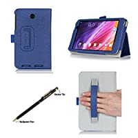 ProCase ASUS MeMO Pad 7 (ME176CX, ME176C) Tablet Case with bonus stylus pen - Bi-Fold Stand Cover Case exclusive for 2014 ASUS MeMO Pad 7 inch (ME176CX) with Hand Strap, auto Sleep/Wake (Navy, Dark Blue) from ProCase