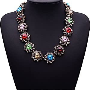 Girl Era Colorful Gems Of Stars Choker Necklace Charm Necklace For Womens(red)