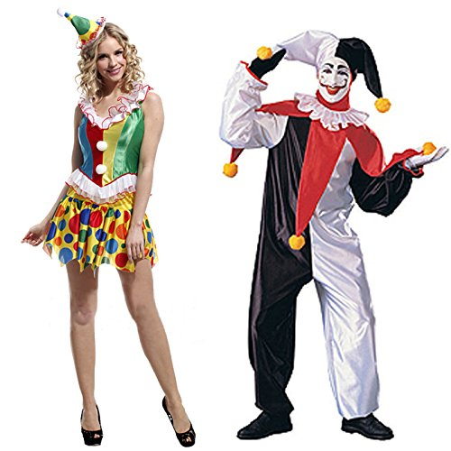 HDE His & Hers Party Clown Adult Halloween Couples Costumes