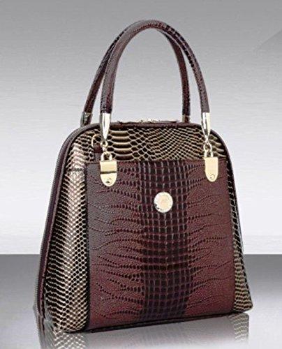 Maison De Decoration©Sac brun serpentin d'épaule de sac à main de sac de messager de cuir de la vache des femmes (brun).