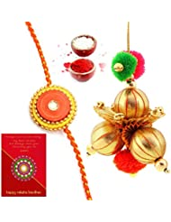 Ethnic Rakhi Fashionable And Stylish Rajasthani Multi-Color Floral Pattern Bhaiya Bhabhi Mauli Thread And Beads... - B01IIMG0MS