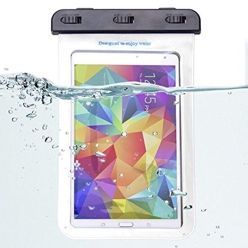 ATiC ストラップ付き透明防水ケース - iPad Mini Retina, Mini 3, Mini 4, Google Nexus 7 (FHD), ASUS Nexus 7, Samsung Galaxy Tab 2 /3 / 4 / 5 7.0 8.0, Tab S 8.4, Tab Pro 8.4, Sony Z3, LG G Pad 7.0 / 8.0 / 8.3, Tab 3 Lite 7, Note 8, Dell Venue 7.0 / 8.0 / 8.0 Pro / Venue 8 7840, Verizon, Nvidia Shiled, Lenovo Tab 2 A7-10 / A7-30, Yoga 2 8, Tab S8-50, HP Slate 8, Acer Iconia A1-810 / W W1-810, MeMO Pad HD7, ASUS ME173X/他の8.4インチ以下のタブレットに適用ストラップアームバンド式両用防水 ケース。防水保護等級 : IPx8。WHITE